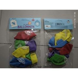 Ballonnen 20 jaar 10 stuks gekleurd
