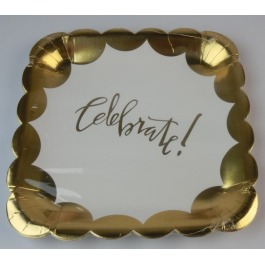 Bordjes celebrate goud 8 stuks groot