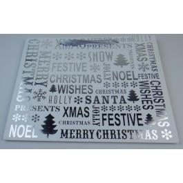 Cadeautas kerst wit met zilverprint