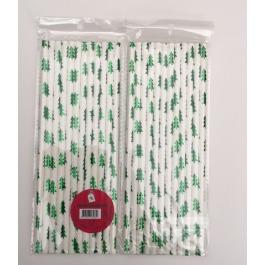 Papieren rietjes kerstboompjes