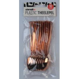 Plastic bestek theelepel koper kleur