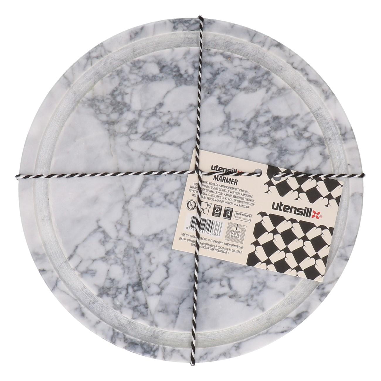 Onderzetter marmer rond wit 20cm