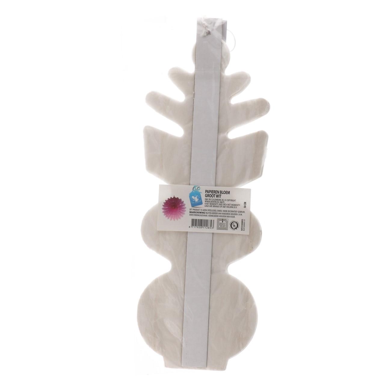 Papieren bloem 50 cm wit