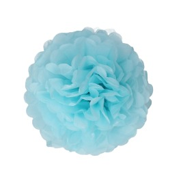 Papieren pompom 25cm blauw