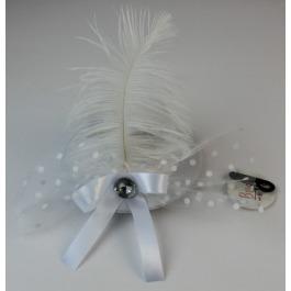 Haarclip hoedje wit met veer #172