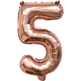 Folieballon cijfer 5 rosé goud