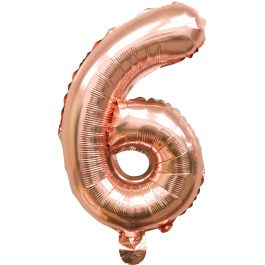 Folieballon cijfer 6 of 9 rosé goud
