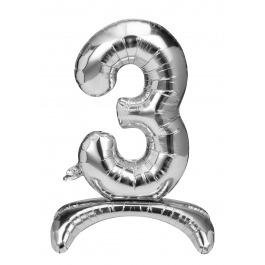 Folieballon zilver staand cijfer 3