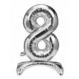 Folieballon zilver staand cijfer 8