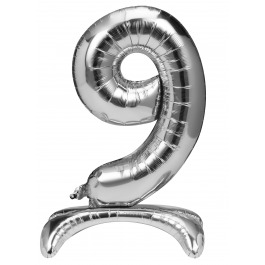 Folieballon zilver staand cijfer 9