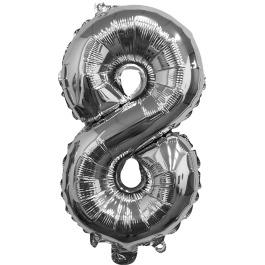 Folieballon zilver xl 8