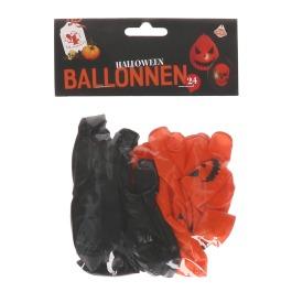 Halloween Ballonnen Rood/Zwart 24St