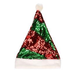 Kerstmuts sequin rood groen