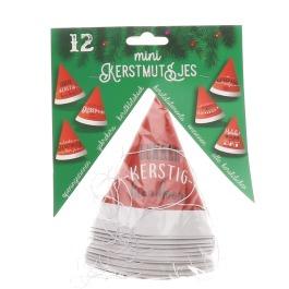 Kerstmutsje mini 12 stuks