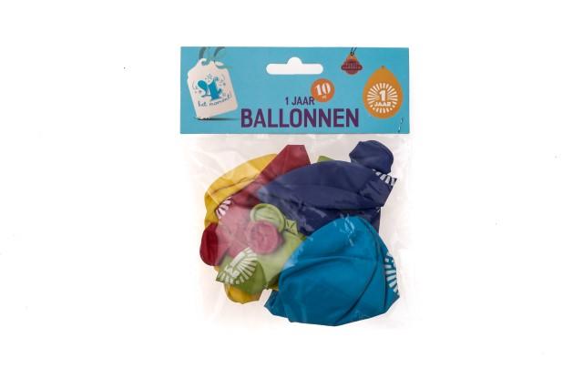 Ballonnen 1 jaar 10 stuks gekleurd