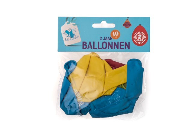 Ballonnen 2 jaar 10 stuks gekleurd