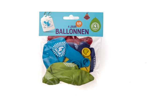 Ballonnen 4 jaar 10 stuks gekleurd
