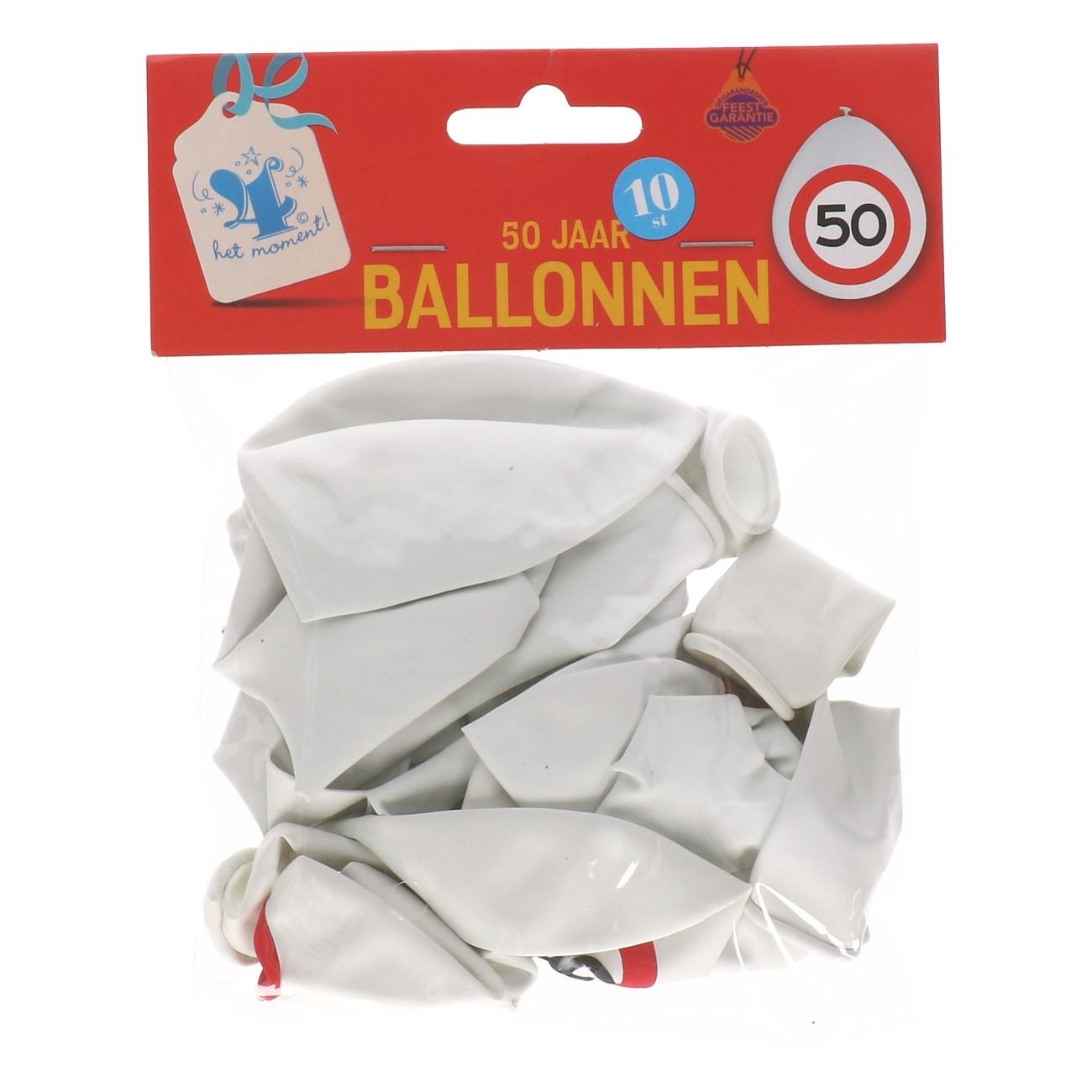 Ballonnen 50 jaar 10 stuks verkeersbord