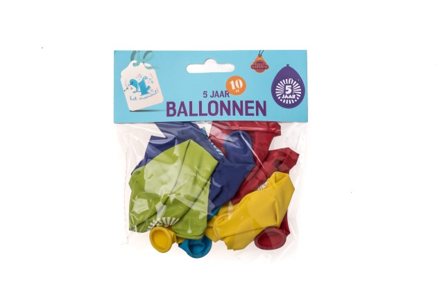 Ballonnen 5 jaar 10 stuks gekleurd