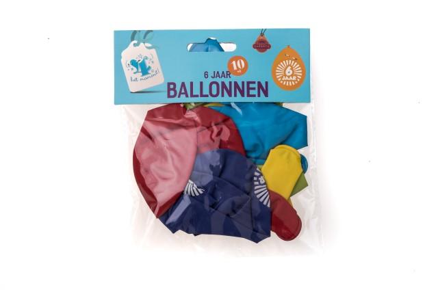 Ballonnen 6 jaar 10 stuks gekleurd