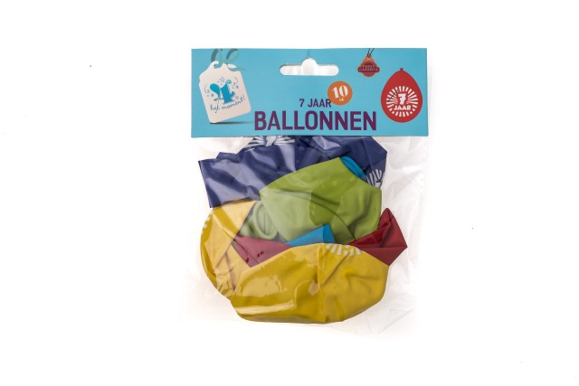 Ballonnen 7 jaar 10 stuks gekleurd