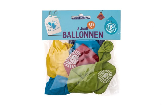 Ballonnen 8 jaar 10 stuks gekleurd