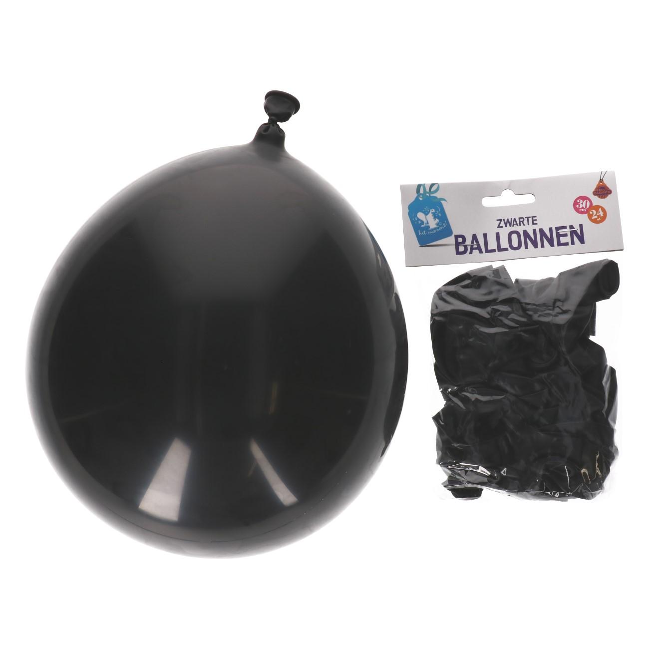 Ballonnen zwart 24 stuks