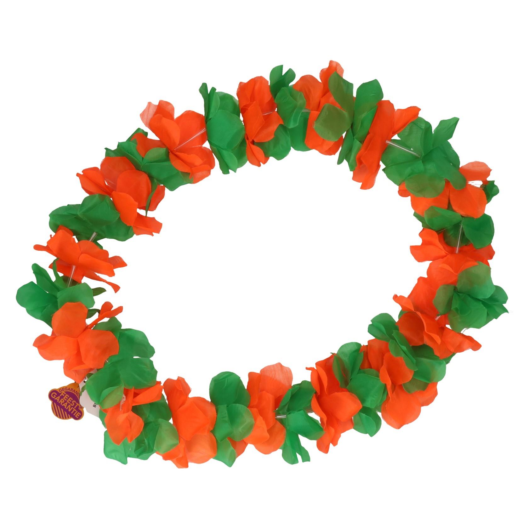 Bloemenkrans oranje/groen