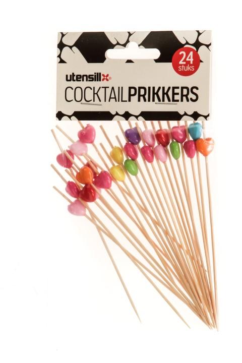 Cocktail prikker met hartje 24 stuks