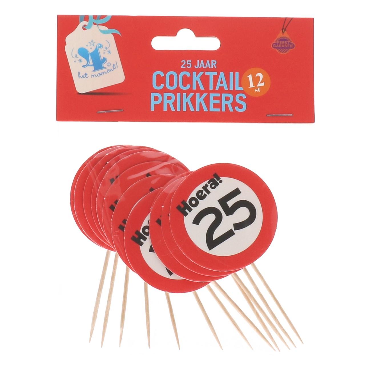 Cocktailprikkers 25 jaar 12 stuks