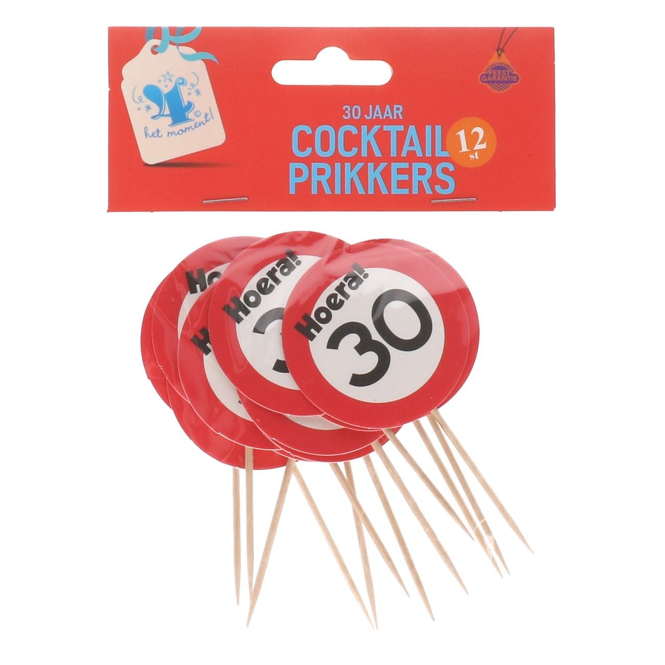 Cocktailprikkers 30 jaar 12 stuks