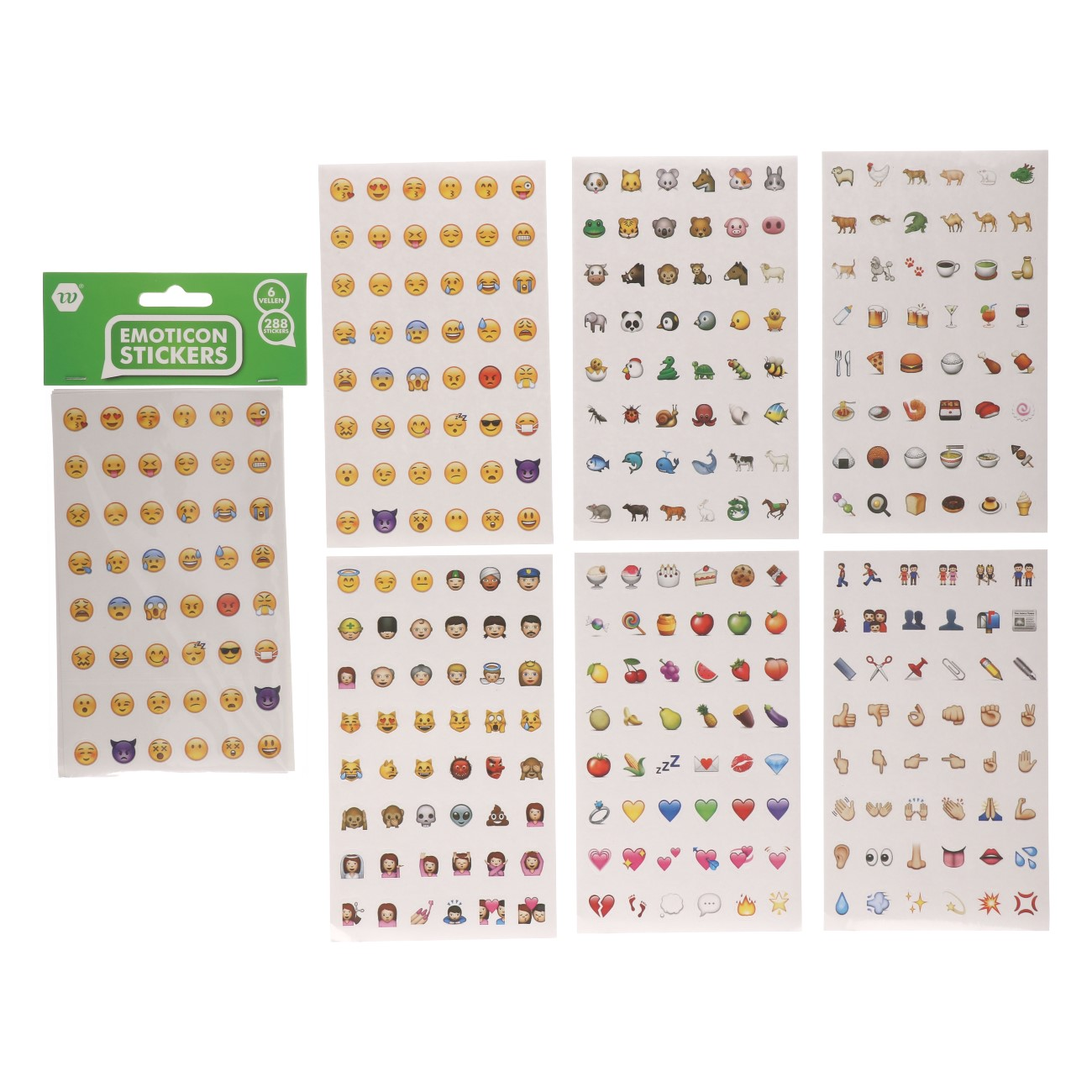 Emoticon stickers 288 stuks 6 vellen