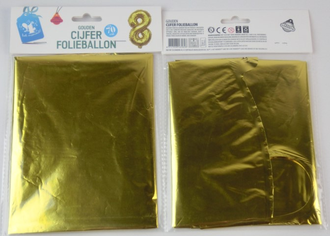 Folieballon goud xl 8
