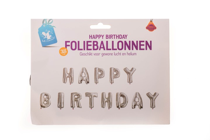 "Folieballonnen ""Happy birthday"" zilver"