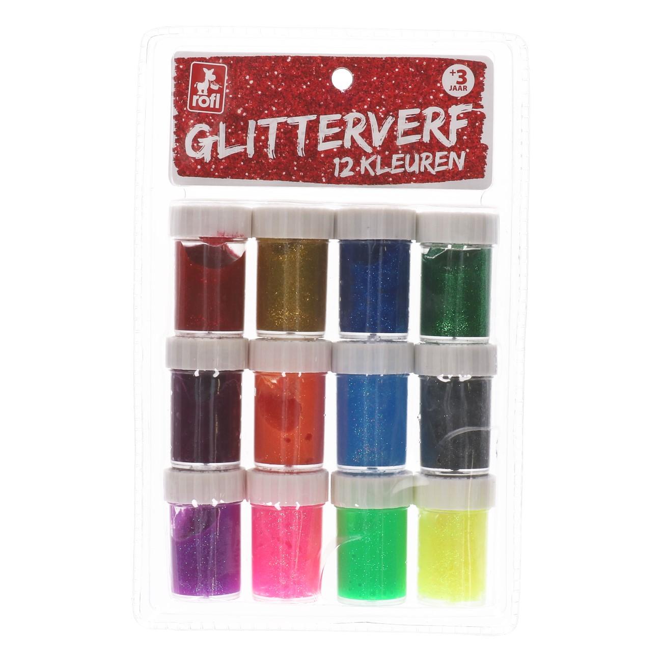 Glitterverf 12 kleuren