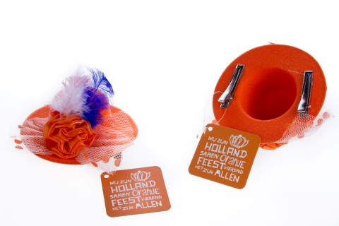 Haaraccesoire hoedje oranje