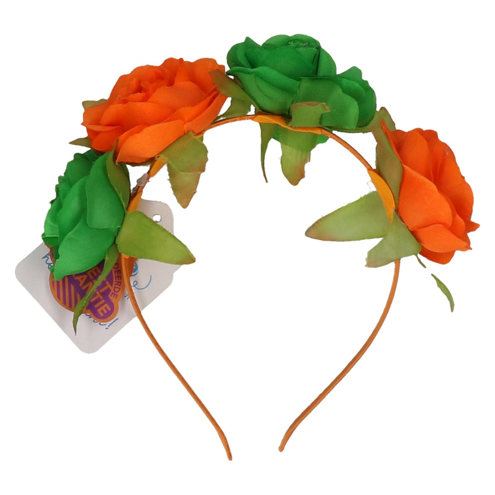 Haarband bloemen oranje-groen