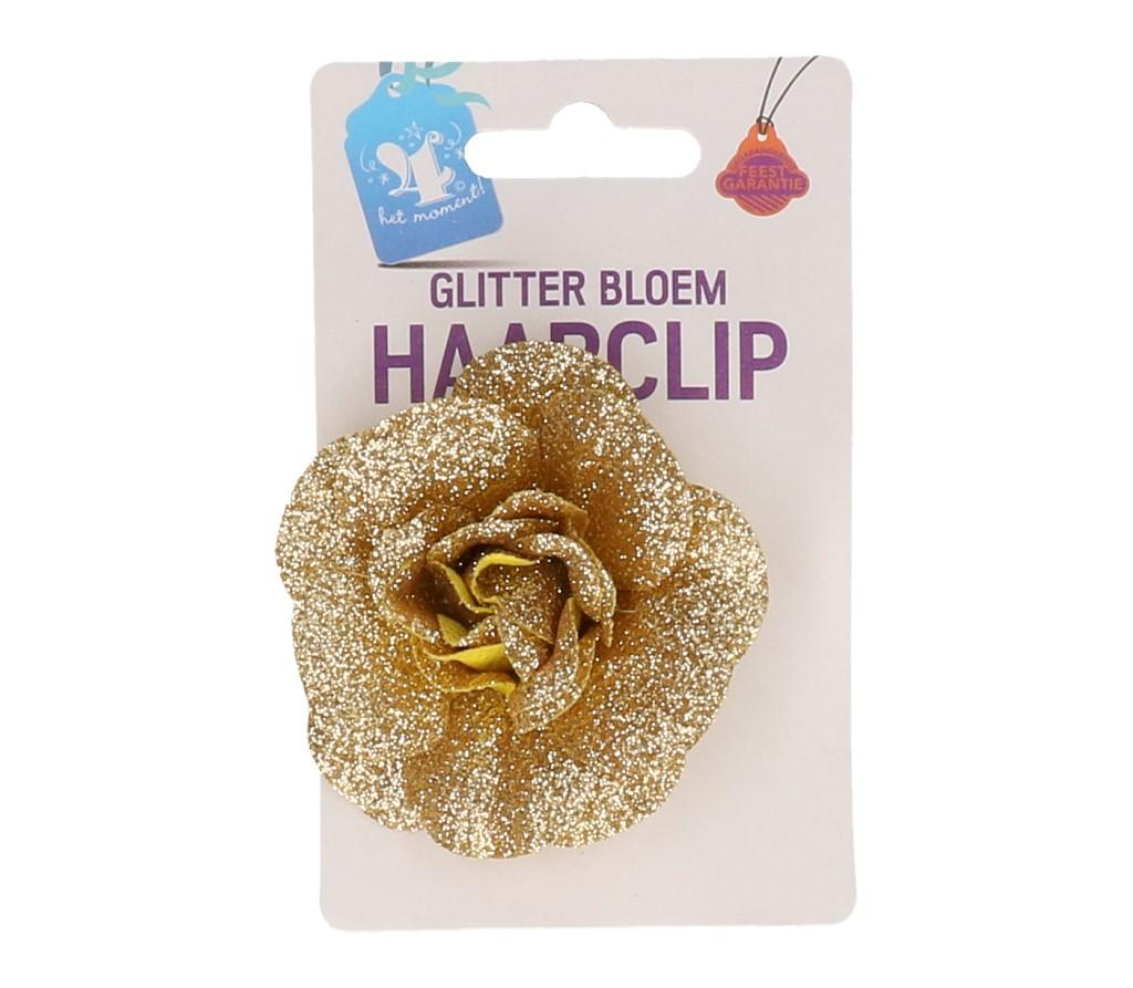 Haarclip bloem goud glitter #589