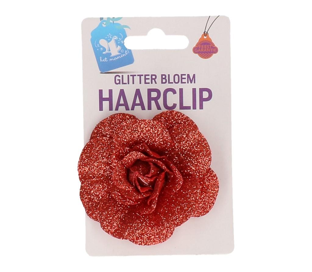 Haarclip bloem rood glitter #596