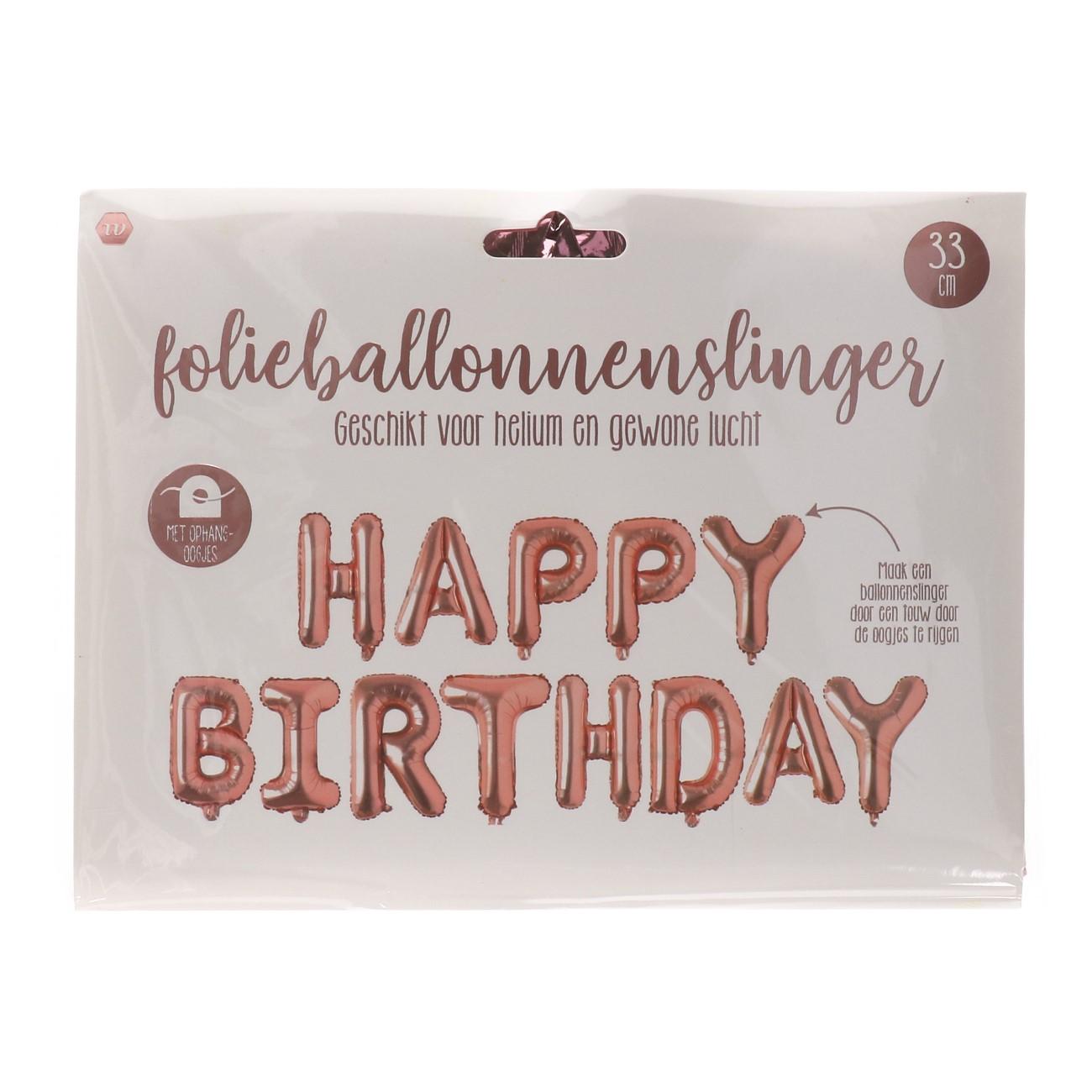 Happy birthday folieballon rosé goud