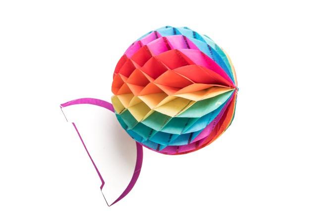Honeycomb pompom rond regenboog