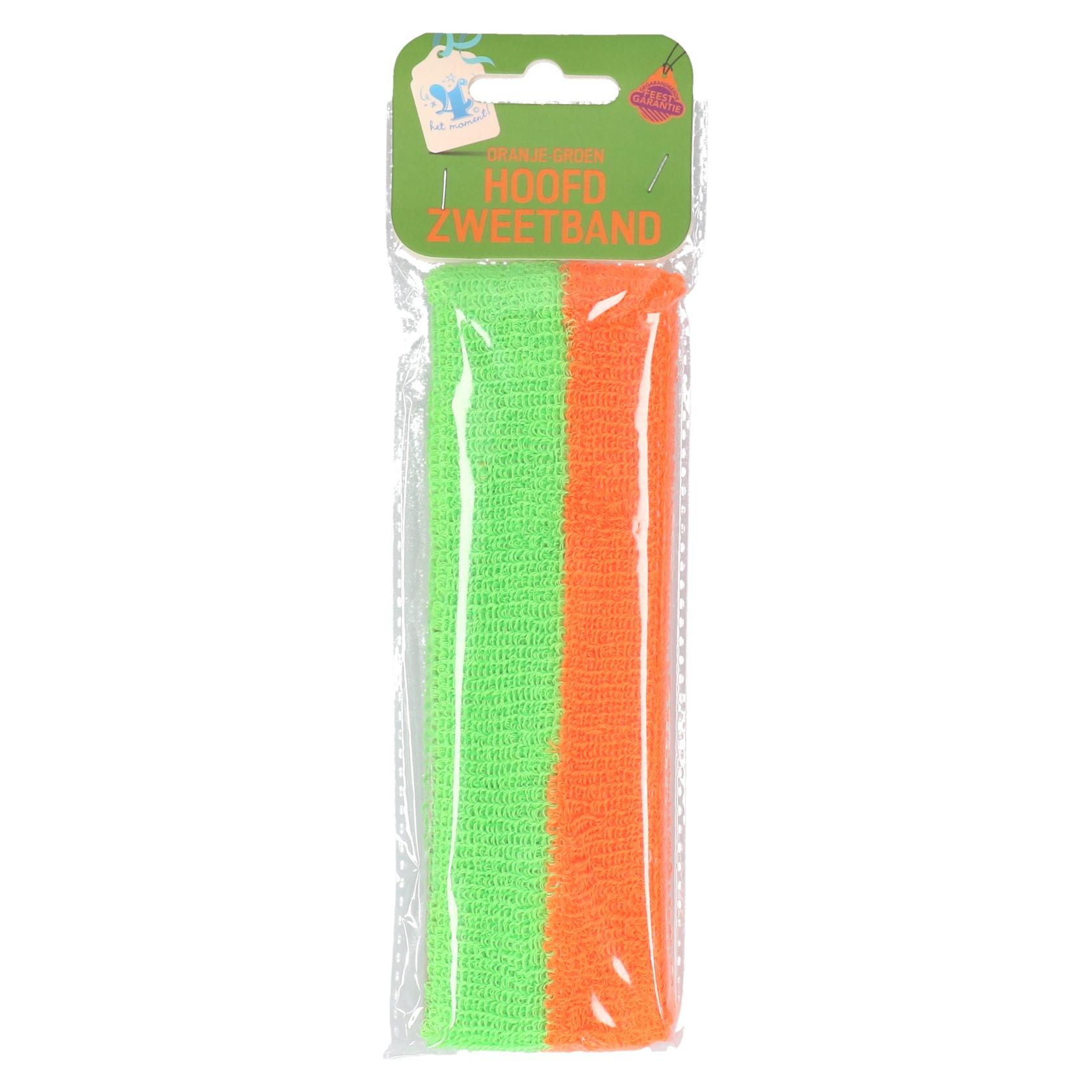 Hoofdzweetband oranje/groen