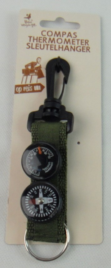 Kompas thermometer sleutelhanger