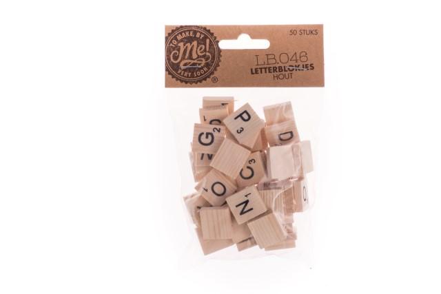 Letterblokjes hout (LB.046) 50stuks