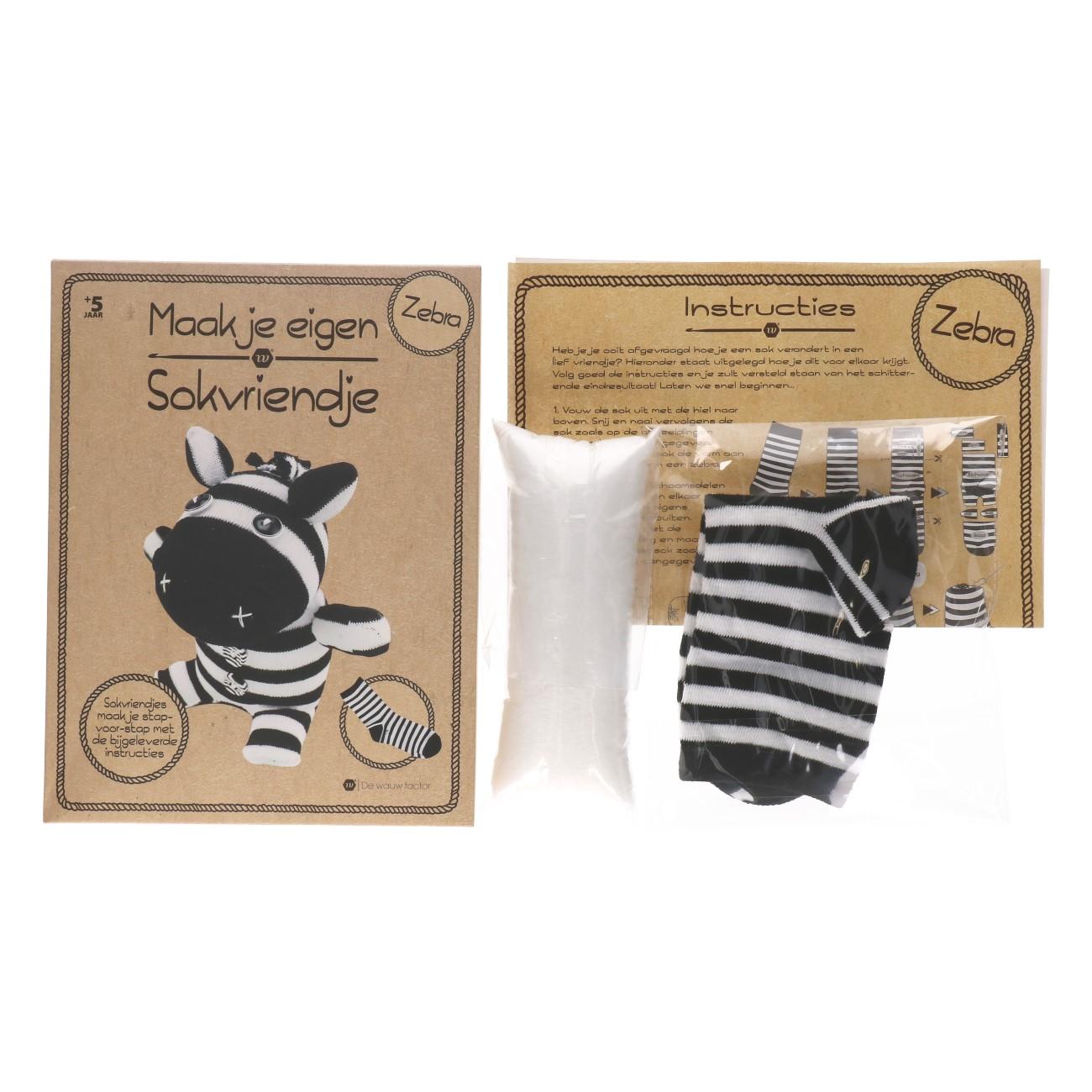 Maak je eigen sok zebra
