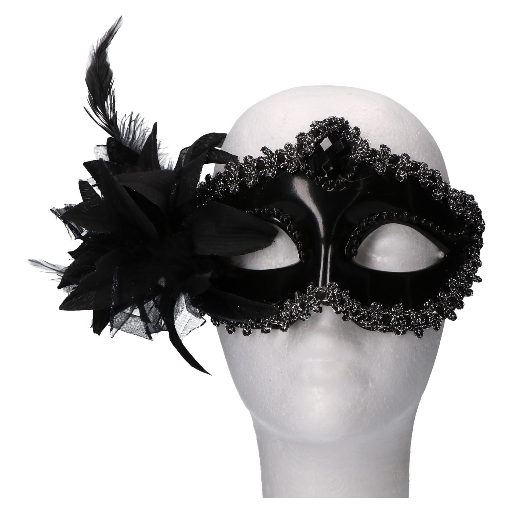 Masker venetiaans zwart met glitterrand