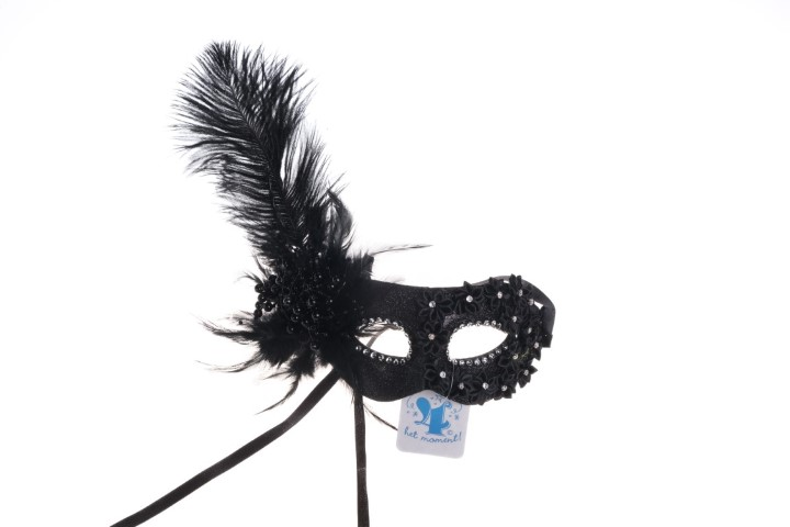 Masker zwart veren luxe versie