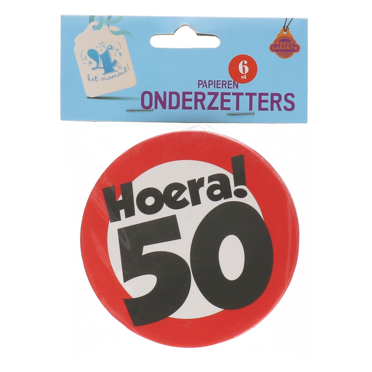 Onderzetters verkeersbord 50 jaar 6 st