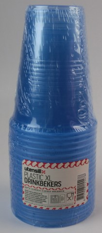 Plastic xl drinkbekers blauw 20 stuks