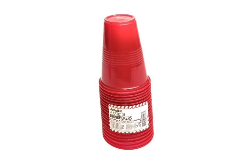 Plastic xl drinkbekers rood 20 stuks